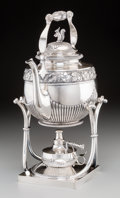 Silver Holloware, Continental:Holloware, A Koch & Bergfeld Silver Hot Water Kettle on Stand withSquirrel Finial, Bremen, Germany, circa 1900. Marks: (crescent),(cr... (Total: 2 Items)