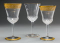 Decorative Arts, French:Other , A Twenty-Seven Piece Group of Saint Louis Thistle andApollo Gold Pattern Glass Stemware, Saint-Loui... (Total: 27Items)