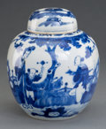 Ceramics & Porcelain, A Chinese Porcelain Covered Blue and White Jar, Qing Dynasty. Marks: Double-circle in blue underglaze. 7-5/8 inches high (19... (Total: 2 Items)