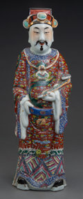 Asian:Chinese, A Chinese Enameled Porcelain Figure of a Male Scholar. 18-1/4inches high (46.4 cm). ...