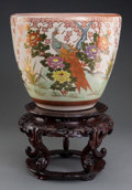 Asian:Japanese, A Japanese Satsuma Fishbowl Jardinière on Chinese Carved HardwoodStand, late Meiji-Taisho Period. Marks: (three character S...(Total: 2 Items)