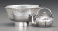 Asian:China Trade, Two Chinese Export Silver Articles: Bowl and Miniature Tea Kettle,circa 1900. Marks: (various character marks). 2 inches hi...(Total: 2 Items)