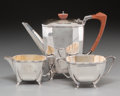 Silver Holloware, British:Holloware, A Three-Piece Cooper Brothers & Sons Ltd. English ArtDeco-Style Silver Tea Set, London, England, circa 1946. Marks...