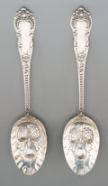 Silver Flatware, American:Mauser Manufacturing, Two Mauser Mfg. Co. Silver Berry Spoons, New York City, early 20thcentury. Marks: STERLING, PAT., MAUSER M'F'G. CO.. 8-...(Total: 2 Items)