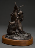 Fine Art - Sculpture, American, Clark Everice Bronson (American, b. 1939). Bear Cubs inTree, 1970. Bronze with brown patina. 7-1/2 inches (19.1 cm)hig...