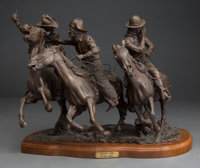 Jack Bryant (American, 1929-2012) Leaving Town, 1978 Bronze with brown patina 17 inches (43.2 cm)