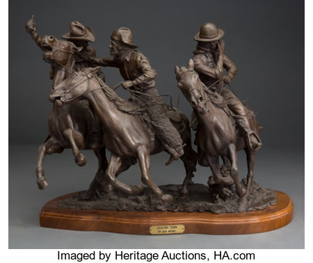 Jack Bryant (American, 1929-2012) Leaving Town, 1978 Bronze with brown patina 17 inches (43.2 cm) high on a 1-1/2 inc...