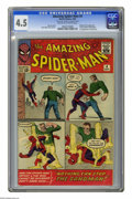 Silver Age (1956-1969):Superhero, The Amazing Spider-Man #4 (Marvel, 1963) CGC VG+ 4.5 Off-white to white pages. Origin and first appearance of Sandman. First...