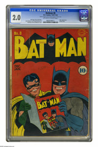 Batman #8 (DC, 1942) CGC GD 2.0 Off-white to white pages. This issue has a lot going for it, namely the second ever appe...
