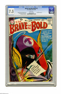 Silver Age (1956-1969):Adventure, The Brave and the Bold #15 (DC, 1957) CGC VF- 7.5 White pages. On this cover, a flaming arrow gives the Silent Knight a dire...