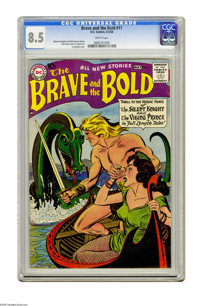 The Brave and the Bold #17 (DC, 1958) CGC VF+ 8.5 White pages. The Viking Prince protects his damsel from a giant sea se...