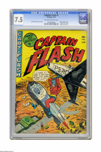 Captain Flash #1 (Sterling, 1954) CGC VF- 7.5 Off-white to white pages. Origin of Captain Flash. Tomboy stories begin. A...