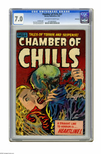 Chamber of Chills #23 Bethlehem pedigree (Harvey, 1954) CGC FN/VF 7.0 Off-white to white pages. Lee Elias cover art. Bob...