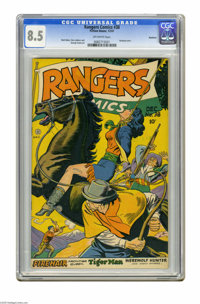 Rangers Comics #38 Rockford pedigree (Fiction House, 1947) CGC VF+ 8.5 Off-white pages. Hanging cover. Matt Baker, Bob L...