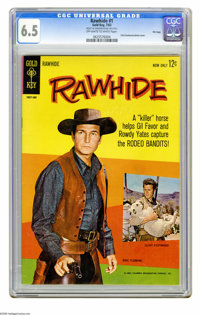 Rawhide #1 File Copy (Gold Key, 1963) CGC FN+ 6.5 Off-white to white pages. Photo cover featuring Clint Eastwood and Eri...