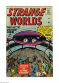 Silver Age (1956-1969):Science Fiction, Strange Worlds #1 (Marvel, 1958) Condition: VG-. Flying saucer issue. Jack Kirby cover art. Steve Ditko, Joe Sinnott, and Do...