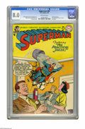 Golden Age (1938-1955):Superhero, Superman #95 (DC, 1955) CGC VF 8.0 Off-white pages. Last pre-code issue. Last appearance of Susie Tompkins for 22 years. Al ...