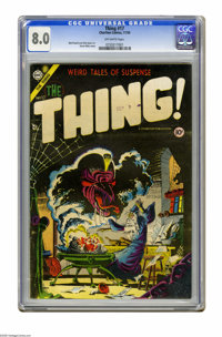 The Thing! #17 (Charlton, 1954) CGC VF 8.0 Off-white pages. Steve Ditko cover. Bob Powell, and Dick Ayers art. Last issu...