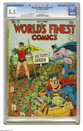 Golden Age (1938-1955):Superhero, World's Finest Comics #11 (DC, 1943) CGC FN- 5.5 Off-white to white pages. Jack Burnley and Jerry Robinson cover. Robinson, ...