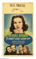 """Movie Posters:Comedy, 3 Smart Girls Grow Up (Universal, 1939). Midget Window Card (8"""" X 14""""). In """"3 Smart Girls,"""" Deanna Durbin and her sisters go..."""
