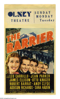 """Movie Posters:Adventure, The Barrier (Paramount, 1937). Midget Window Card (8"""" X 14""""). WhileLeo Carrillo gets top billing, Jean Parker is actually a..."""