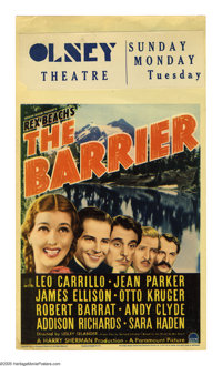 "The Barrier (Paramount, 1937). Midget Window Card (8"" X 14""). While Leo Carrillo gets top billing, Jean Parker..."