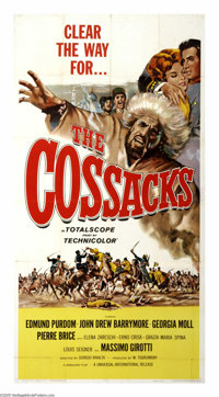 "The Cossacks (Faro Film, 1960). Three Sheet (41"" X 81""). To cement a truce between Shamil (Edmund Purdom), the..."