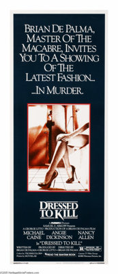 """Dressed To Kill (Filmways Pictures, 1980). Insert (14"""" X 36""""). Brian De Palma directs this horror thriller/hom..."""