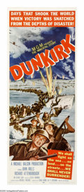 "Movie Posters:War, Dunkirk (MGM, 1958). Insert (14"" X 36""). During the 1940 evacuationof Allied troops across the English channel, a party of ..."