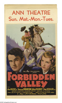 """Forbidden Valley (Universal, 1938). Midget Window Card (8"""" X 14""""). A young man's father is falsely accused of..."""