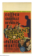 "Movie Posters:Mystery, Gallant Sons (MGM, 1940). Midget Window Card (8"" X 14""). JohnnyDavis (Gene Reynolds) and his tenement pals vow to clear Joh..."