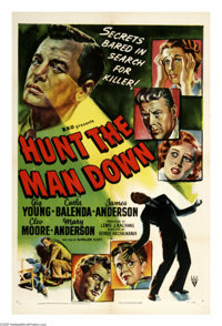 "Hunt the Man Down (RKO, 1950). One Sheet (27"" X 41""). Public defender Gig Young tries to prove that a man conv..."