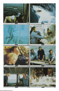 "Jaws (Universal, 1975). Mini Lobby Card Set of 8 (8"" X 10""). Steven Spielberg's breakthrough movie about a New..."