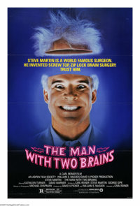 """The Man with Two Brains (Warner Brothers, 1983). One Sheet (27"""" X 41""""). Steve Martin is Dr. Michael Hfuhruhurr..."""