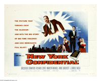 "New York Confidential (Warner Brothers, 1955). Half Sheet (22"" X 28""). Richard Conte is Nick Magellan, a hit m..."