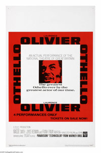 "Othello (Warner Brothers, 1966). Window Card (14"" X 22""). Shakespeare's classic story of love, jealousy and en..."