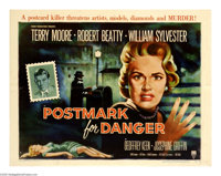 "Postmark for Danger (RKO, 1955). Half Sheet (22"" X 28""). Terry Moore plays an American actress named Alison wh..."