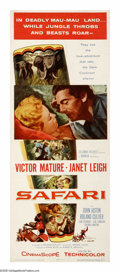 "Movie Posters:Adventure, Safari (Columbia, 1956). Insert (14"" X 36""). In one of his bestscreen roles, Victor Mature plays a hunter who's family is m..."