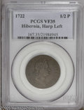 Colonials: , 1722 1/2P Hibernia Halfpenny, Type One, Harp Left VF35 Brown PCGS.PCGS Population (7/39). (#167)...
