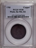 Colonials: , 1783 1C Washington & Independence Cent, Small Military Bust,Engrailed Edge VF30 Brown PCGS. PCGS Population (2/21). NGC Ce...