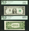 Error Notes:Error Group Lots, Misaligned Back Printing Error Fr. 1614 $1 1935E SilverCertificate. PCGS Very Choice New 64PPQ;. Shifted Third PrintingError... (Total: 2 notes)