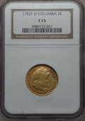 Colombia, Colombia: Charles III gold 2 Escudos 1782 P-SF F15 NGC,...