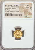 Ancients:Byzantine, Ancients: Heraclius (AD 610-641). AV solidus (4.49 gm). NGC MS 3/5- 4/5....