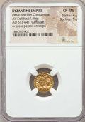 Ancients:Byzantine, Ancients: Heraclius (AD 610-641) and Heraclius Constantine (AD613-641). AV solidus (4.49 gm). NGC Choice MS 4/5 - 5/5....