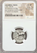 Ancients:Greek, Ancients: CALABRIA. Tarentum. Ca. 272-240 BC. AR stater or didrachm(6.34 gm). NGC Choice XF 4/5 - 4/5....