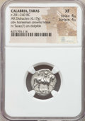 Ancients:Greek, Ancients: CALABRIA. Tarentum. Ca. 272-240 BC. AR stater or didrachm(6.17 gm). NGC XF 4/5 - 4/5....