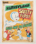 "Original Comic Art:Covers, Harveyland Read and Do Album ""Safety First"" Cover OriginalArt (Saalfield/Harvey, 1972)...."