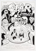 Dick Ayers All-Star Comics #8 Cover Re-Creation Original Art (c. 1990s) Comic Art
