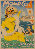 Fine Art - Work on Paper:Print, Jules Alexandre Grün (French, 1868-1934). Monaco, c. 1908.Lithograph in colors on paper. 48 x 34 inches (121.9 x 86.4 c...