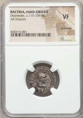 Ancients:Greek, Ancients: INDO-GREEK KINGDOMS. Bactria. Diomedes (ca. 115-105 BC).AR drachm. NGC VF, scratches....